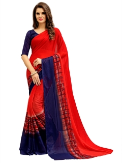 FABLIVA DESIGNER RED NAVY BLUE GEORGETTE SAREE