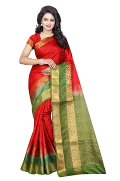 FABLIVA DESIGNER RED OLIVE GREEN TUSSAR SILK NYLON SAREE