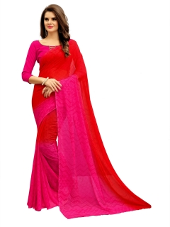 FABLIVA DESIGNER RED PINK GEORGETTE SAREE