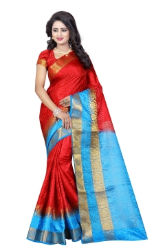 FABLIVA DESIGNER RED SKY TUSSAR SILK NYLON SAREE