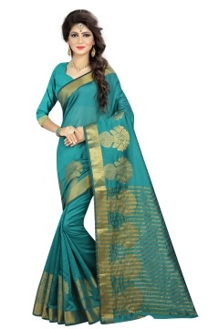 FABLIVA DESIGNER SEA GREEN BEIGE POLYSILK SAREE