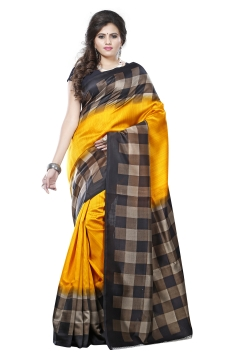 FABLIVA DESIGNER YELLOW BLACK BEIGE ART SILK SAREE
