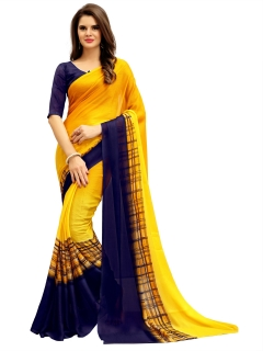 FABLIVA DESIGNER YELLOW NAVY BLUE GEORGETTE SAREE