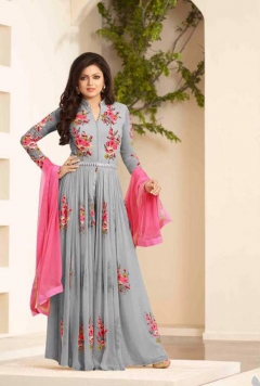 FABLIVA GREY PEACH FLOOR TOUCH ANARKALI SUIT