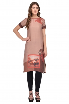 FABLIVA LIGHT BROWN PRINTED RAYON STITCHED KURTI