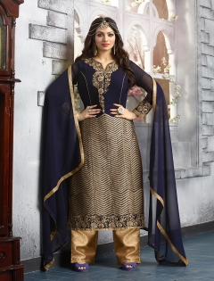 FABLIVA NAVY BLUE PURE GEORGETTE STRAIGHT SUIT