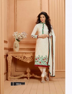 FABLIVA OFF WHITE MAROON GREEN EMBROIDERED GEORGETTE SEMI STITCHED STRAIGHT SUIT