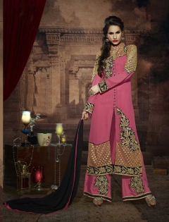 FABLIVA PEACH BEIGE EMBROIDERED GEORGETTE SEMI STITCHED STRAIGHT SUIT