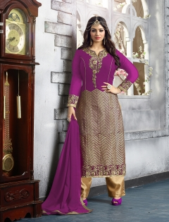 FABLIVA PURPLE PURE GEORGETTE STRAIGHT SUIT