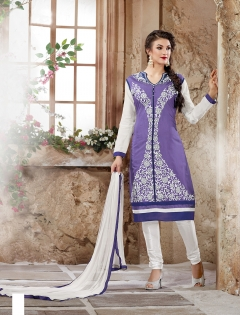 FABLIVA PURPLE WHITE CHANDERI COTTON STRAIGHT SUIT