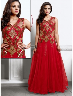 FABLIVA RED NET ANARKALI SUIT