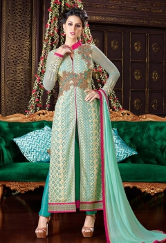 Fabliva Attractive Aqua Off White Designer Net Straight suit