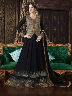 Fabliva Attractive Black Golden Full Length Georgette Anarkali suit