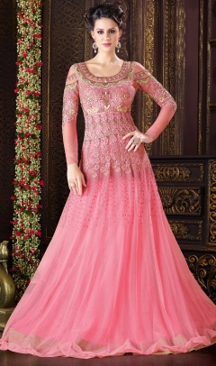 Fabliva Attractive Pink Full Length Net Anarkali suit