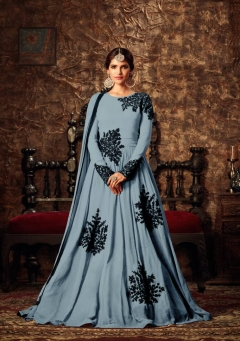 Fabliva Grey Designer Long Anarkali suit