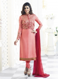 Fabliva Peach Georgette Satin Straight Suit