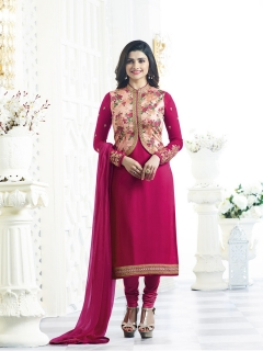 Fabliva Pink Georgette Satin Straight Suit