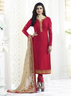 Fabliva Red Beige Georgette Satin Straight Suit