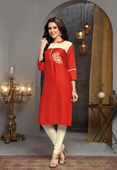 Orange cream designer rayon kurti