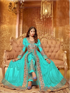 AQUA BEIGE EMBROIDERED NET SEMI STITCHED ANARKALI SUIT