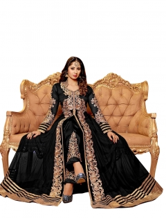BLACK BEIGE EMBROIDERED NET SEMI STITCHED ANARKALI SUIT