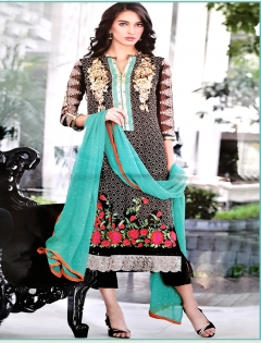 FABLIVA BLACK MULTI EMBROIDERED GEORGETTE SEMI STITCHED ANARKALI SUIT