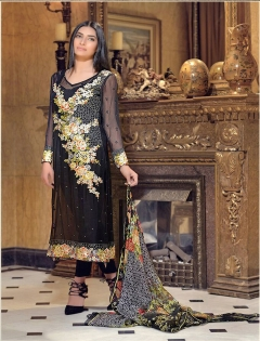 FABLIVA BLACK MULTI EMBROIDERED GEORGETTE SEMI STITCHED STRAIGHT SUIT