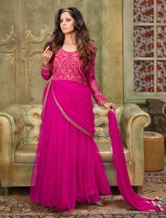 FABLIVA DARK PINK EMBROIDERED SILKY NET SEMI STITCHED ANARKALI SUIT