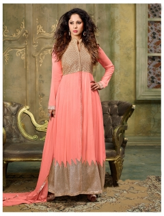 FABLIVA PEACH BEIGE EMBROIDERED SILKY NET SEMI STITCHED ANARKALI SUIT