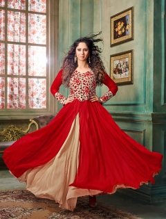 FABLIVA RED BEIGE EMBROIDERED SILKY NET SEMI STITCHED ANARKALI SUIT