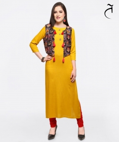 Yellow Designer Long Kurti