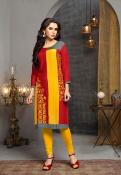 red yellow designer rayon kurti