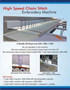 High Speed Chain Stitch Embroidery Machine
