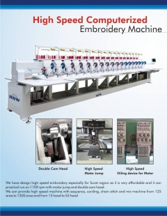 High Speed Computerised Embroidery Machine