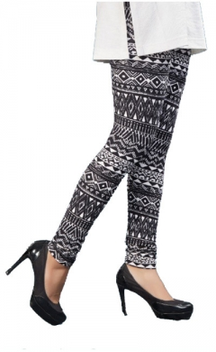black printed lycra leggings