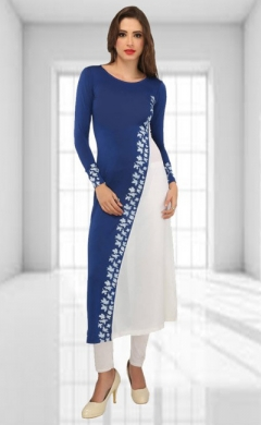 buy ira blue white georgette embroidered designer kurti