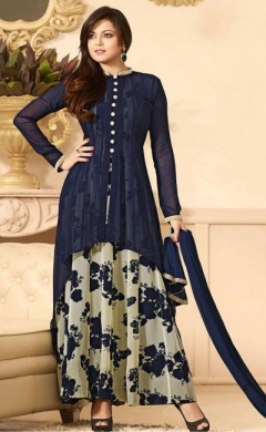 dark blue cream georgette designer salwar suit