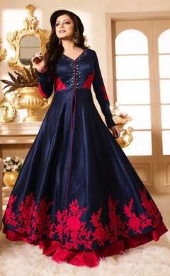 drashti dark blue magenta pure silk designer anarkali suit