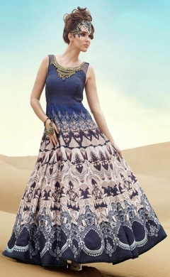 new blue beige bhagalpuri printed anarkali suit