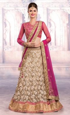 new cream magenta net wedding lehenga choli
