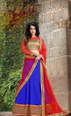 new red blue tussar silk crush designer lehenga choli