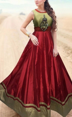 new red copper taffeta silk designer gown