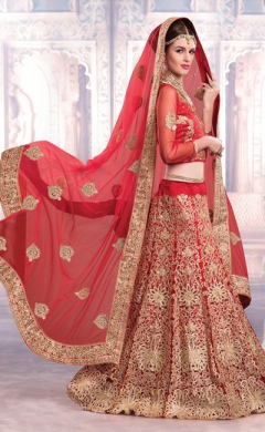 new red net satin bridal lehenga choli