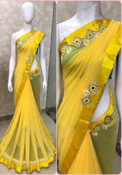 Designer partywear sarees with very beautiful lather butta and mirror work with specially handmade aari work