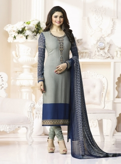Thankar Designer French Crepe Grey Straight Suit