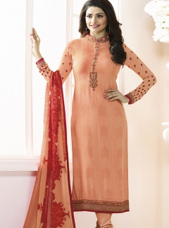 Thankar Designer French Crepe Peach Straight Suit