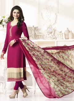 Thankar Designer French Crepe Pink Straight Suit