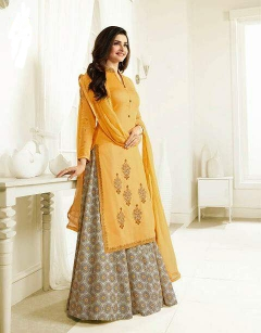 Thankar Yellow Designer Georgette Satin Plazzo Style suit