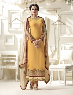 Thankar Yellow Faux Georgette Straight Suit