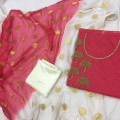 white and pink handwork dress material